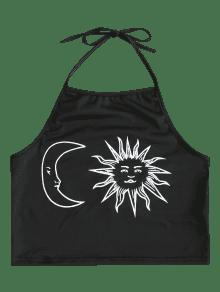 And Print Halter Sun Negro Top Crop M Moon Ctq5Trq