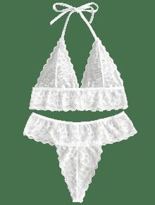 1421cbfd9005a 26% OFF  2019 Scalloped Halter Lace Bra Set In WHITE