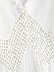 b611cec8c2 25% OFF] 2019 Pom Poms Crochet Panel Slit Cover Up Dress In WHITE ...