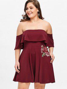 فستان الحجم الكبير متزلج بلا اكتاف طباعة الأزهار والأبليك - نبيذ أحمر 5xl