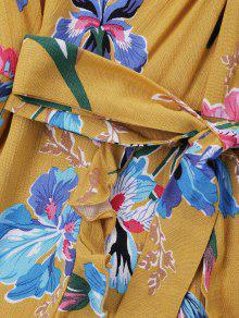 Amarillo Mini Floral M Vestido Twist q117p