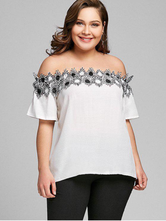 Applique Schulterfrei Plus Size Tunika Bluse - Weiß 4XL