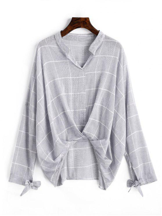 online Gathered Gingham High Low Blouse - GRAY S