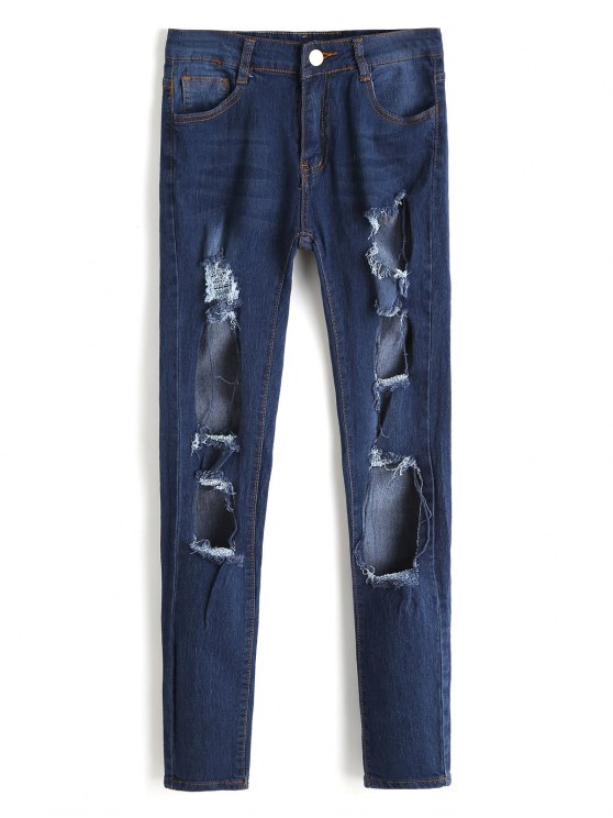 latest High Waist Cut Out Frayed Jeans - DEEP BLUE L