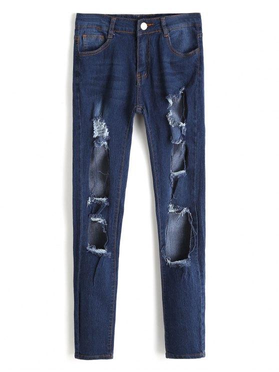 Jean Usé Découpé à Taille Haute - Bleu Foncé XL