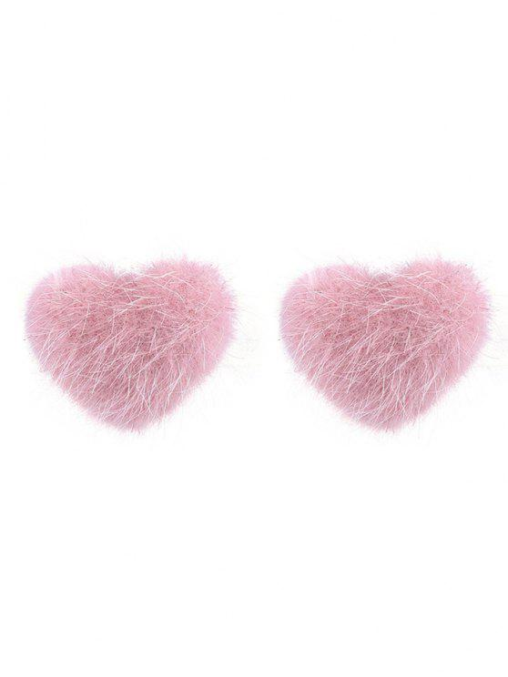 أقراط على شكل قلب من الفرو لعيد الحب - وردي فاتح