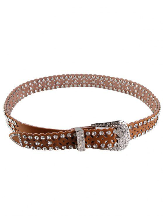 shops Rhinestone Hollow Out Embellished Waist Belt - BROWN