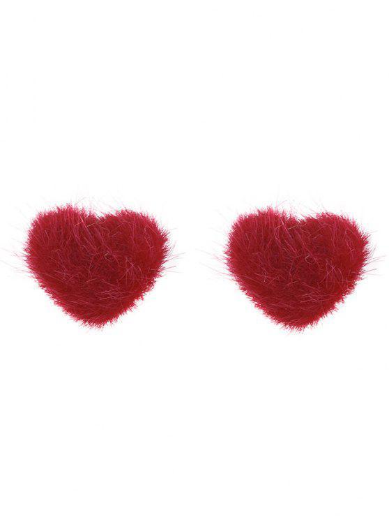 أقراط على شكل قلب من الفرو لعيد الحب - أحمر