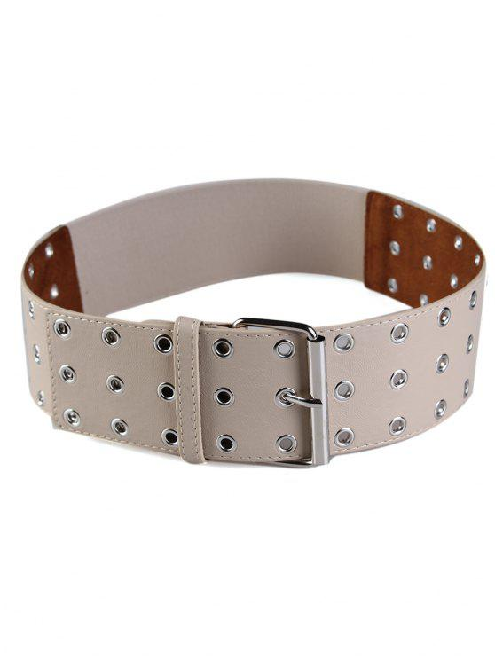 womens Hollow Out Rivets Elastic Wide Waist Belt - KHAKI