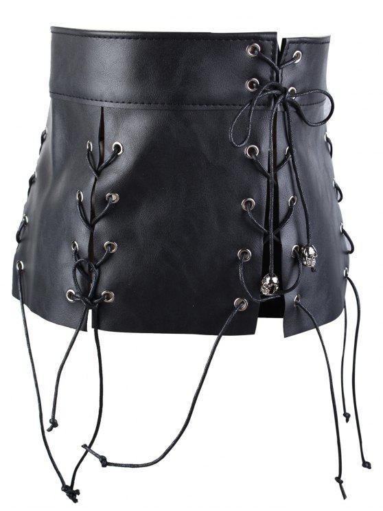 best Faux Leather Fringed Waist Corset Belt - BLACK