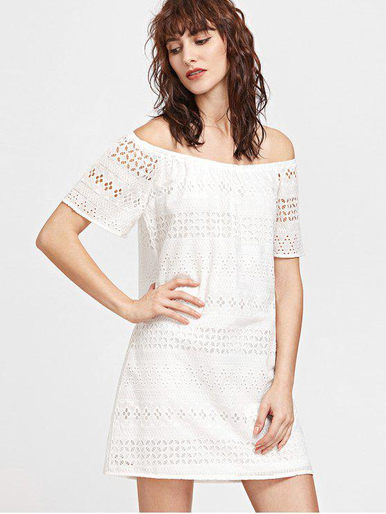 unique Laser Cut Off The Shoulder Dress - WHITE L