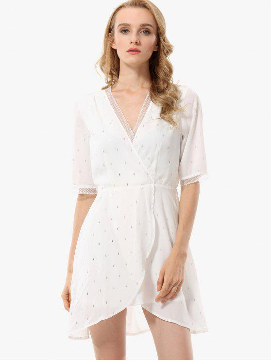 ladies Leaf Print Laced Surplice Dress - WHITE M