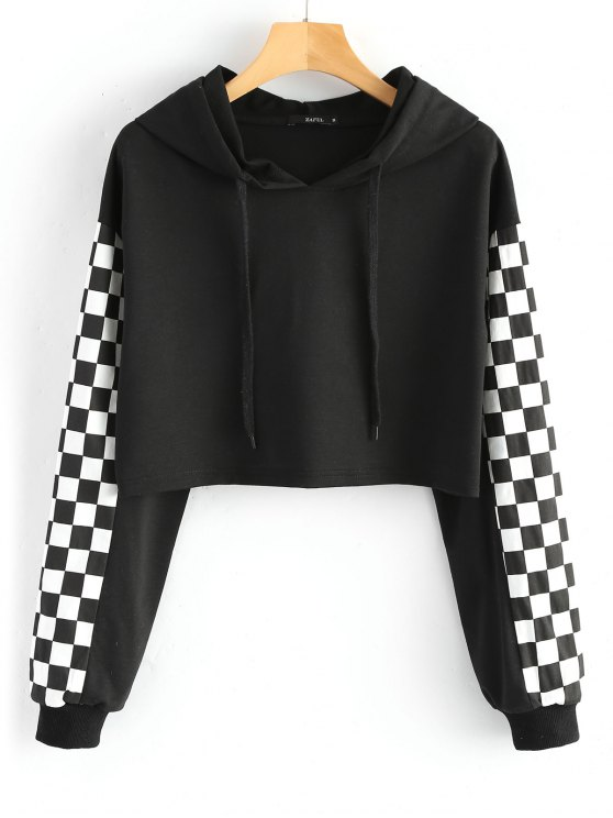 best Cropped Contrast Square Hoodie - BLACK S