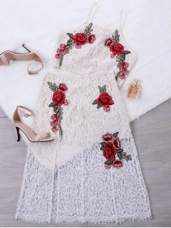 outfits Embroidery Lace Crop Top with Skirt - WHITE L
