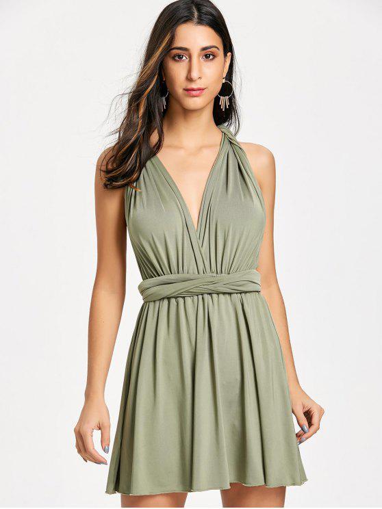 Mini-Vestido Rodado Conversível - Verde L