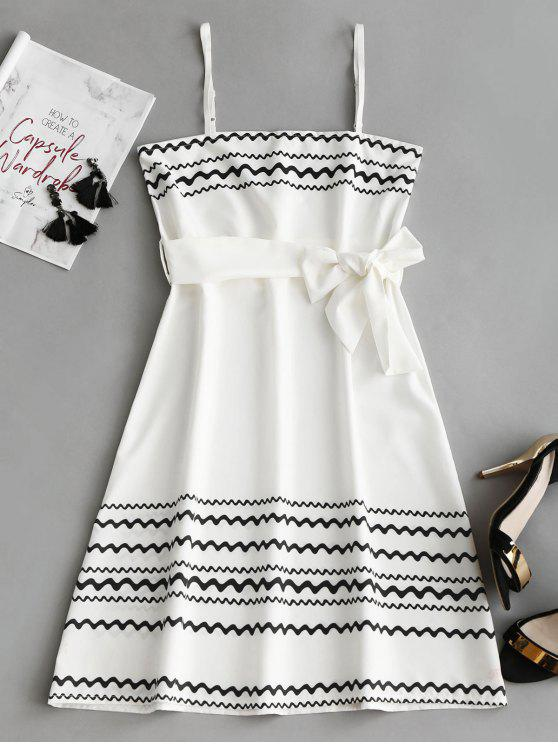 latest Belted Zig Zag Slip Mini Dress - WHITE XL