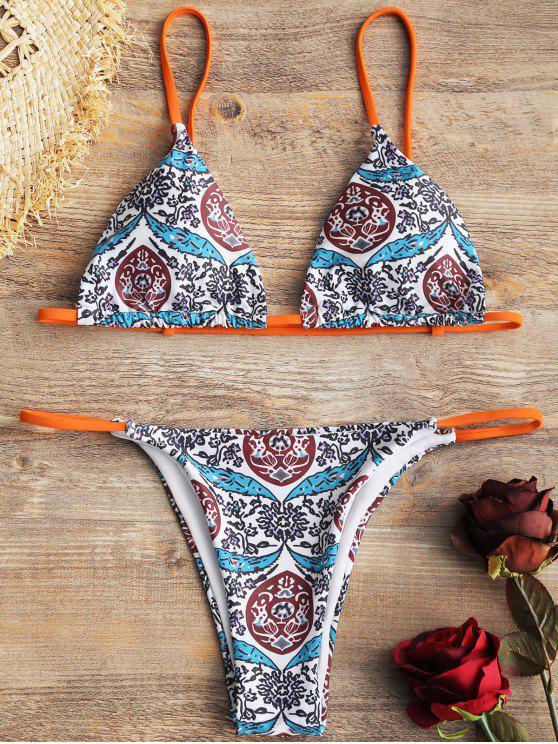 Micro Printed Tanga Bikini Set - COLORMIX  L