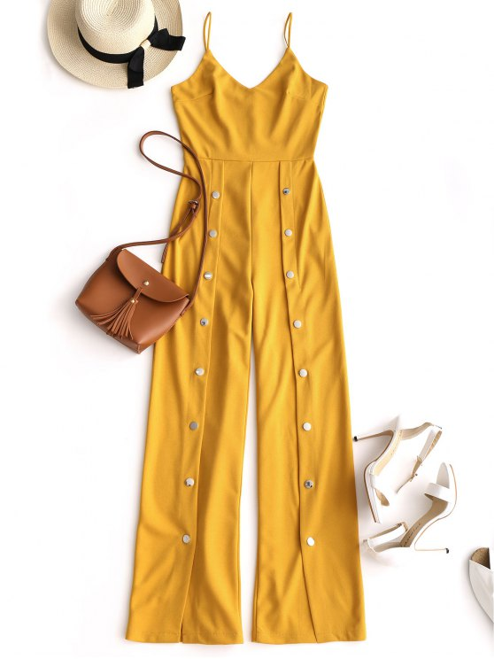 chic Snap-button Wide Leg Jumpsuit - YELLOW L