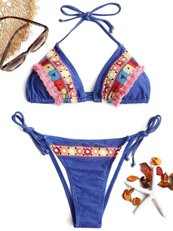 Tassel Printed String Bikini Set - Denim Blau S