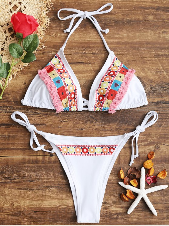 Bikini con stringhe in nappa stampata - Bianco L