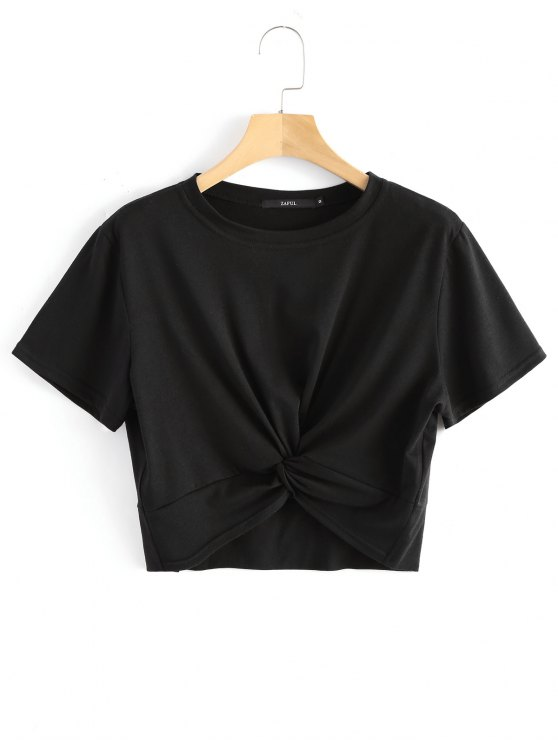 ladies Cotton Twist Cropped Top - BLACK XL