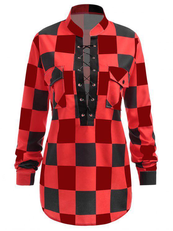 زائد حجم منقوشة الدانتيل يصل قميص - أحمر 3XL