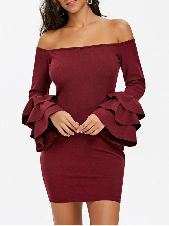 439f635dc21b 30% OFF  2019 Open Shoulder Flare Sleeve Mini Bodycon Dress In WINE ...
