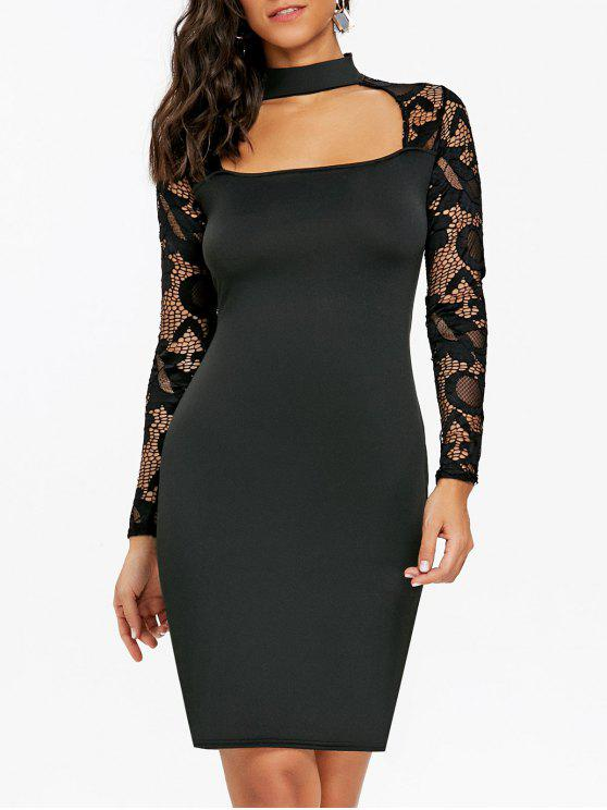 96ba1731d97 20% OFF  2019 Cut Out Lace Panel Bodycon Dress In BLACK XL