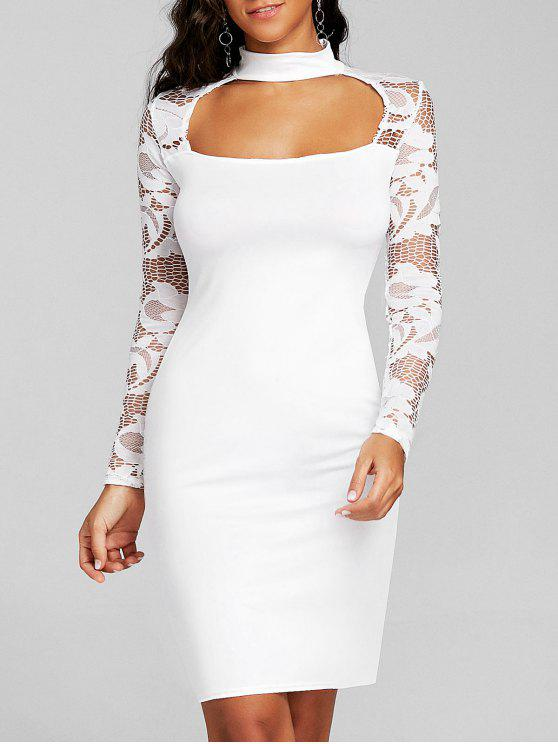 f3070d73e92 20% OFF  2019 Cut Out Lace Panel Bodycon Dress In WHITE