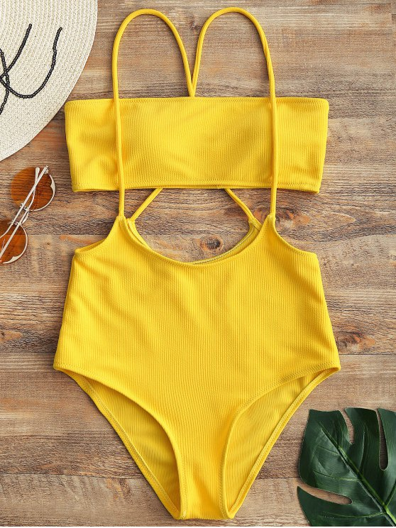 outfits Bandeau Top and High Waisted Slip Bikini Bottoms - YELLOW M
