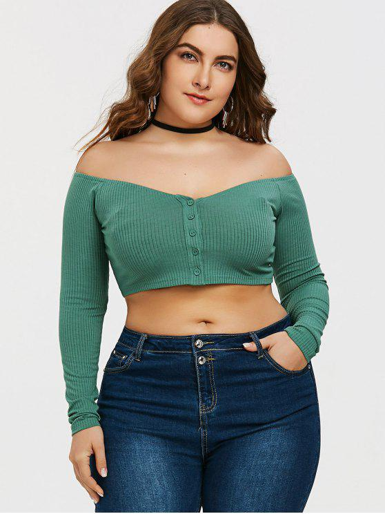 T-shirt Côtelé Boutonné à épaules Dénudées Grande Taille - Vert XL
