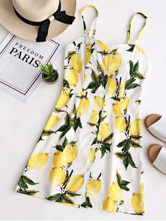 hot Lemon Print Open Back Cami Dress - WHITE S