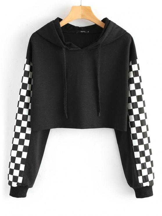 Sudadera con capucha cuadrada con contraste - Negro XL