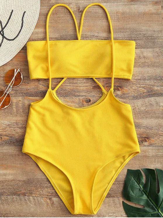 outfits Bandeau Top and High Waisted Slip Bikini Bottoms - YELLOW M