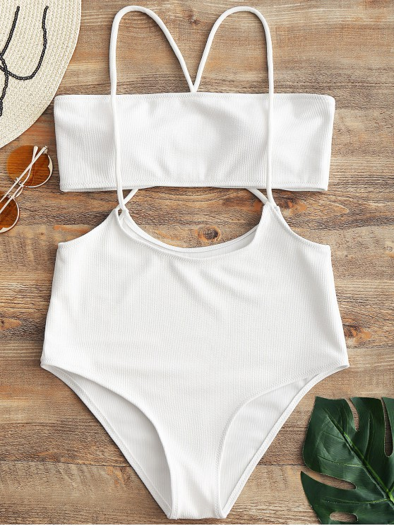 hot Bandeau Top and High Waisted Slip Bikini Bottoms - WHITE L