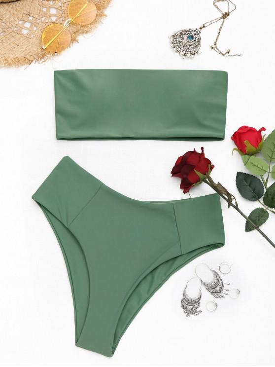 hot High Cut Bandeau Bathing Suit - ARMY GREEN M