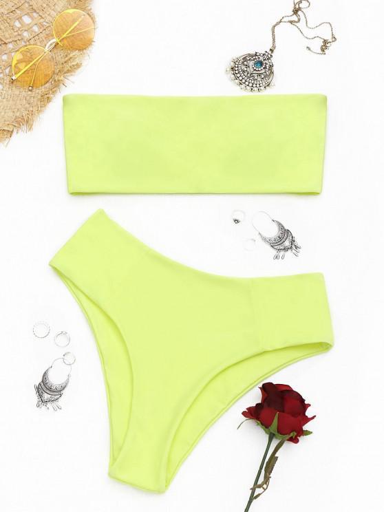 shop High Cut Bandeau Bathing Suit - FLUORESCENT YELLOW M