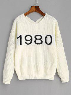 Number Graphic Criss Cross Sweater - Off-white