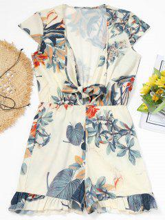 Floral Ties Ruffle Romper - Off-white S