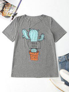 T-shirt à Imprimé Cactus à Col Rond  - Gris S