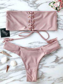 Bandeau Lace Up Bikini Set - Pink M