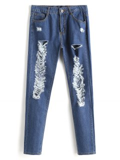 Zipper Fly Ripped Jeans - Denim Blue S