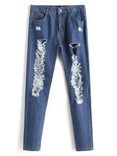 Zipper Fly Ripped Jeans - Denim Blue Xl