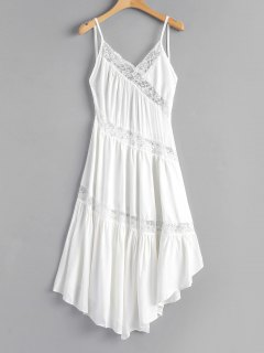 Lace Panel Backless Asymmetric Cami Dress - White L