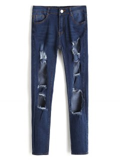 High Waist Cut Out Frayed Jeans - Deep Blue L