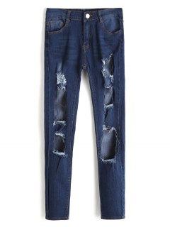 Hohe Taille Ausgeschnittene Ausgefranste Jeans - Dunkelblau 2xl