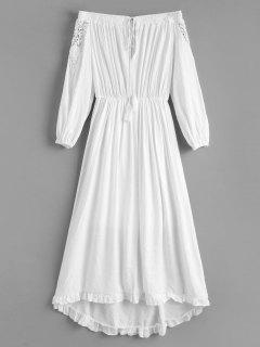 Robe à Volants à épaules Dénudées - Blanc M