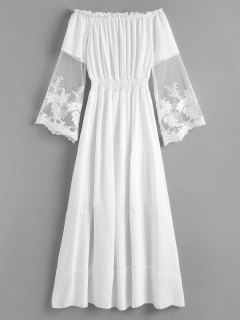Off Shoulder Mesh Panel Smocked Dress - White M