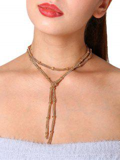 Simple Alloy Chain Beads Necklace - Golden