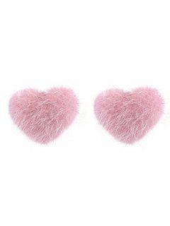 Fuzzy Valentine's Day Heart Stud Earrings - Light Pink